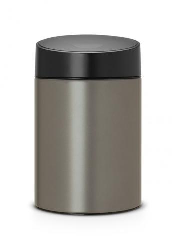 Ведро для мусора с крышкой Brabantia SLIDE 5л 483141 Platinum (платина)